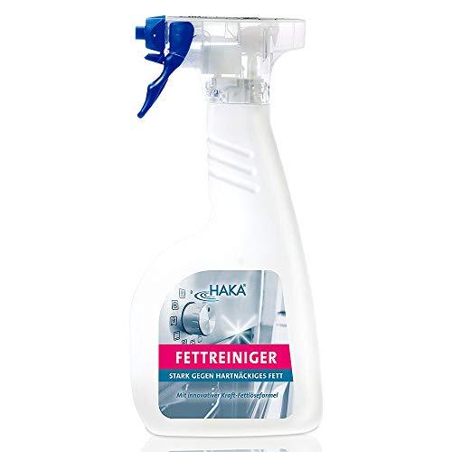 HAKA Fettreiniger I 500 ml I Küchenreiniger für hartnäckige Fett Verschmutzungen I Fettlöser für Backofen, Grill, Herd & Töpfe I Flächenreiniger