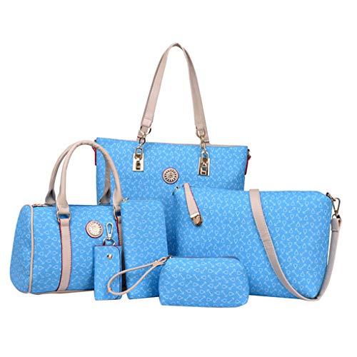 Desconocido Generic 6pcs / Set Bolso de Cuero Bolsos de Hombro Monedero Bolsos de Embrague de Mensajero - Cielo Azul