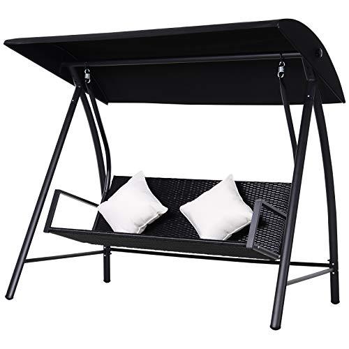 Outsunny 3-Sitzer Hollywoodschaukel Schaukel Polyrattan Metall mit Kissen belastbar bis 360kg Neu (Schwarz)