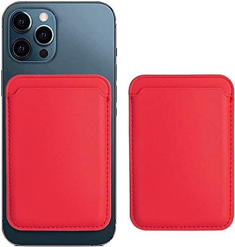 Cartera de Piel con MagSafe para el iPhone 12 Mini/Pro/MAX,Tarjetero RFID con imán MagSafe, 2 Tarjetas como Máximo (Rojo)