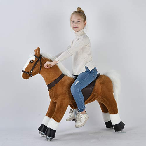 Ufree Ride on Pony, Walking Horse Toy, Best Birthday Mechanical Horse Gift, Giddy up Riding Horse with Wheel, 36 inch Height Pony Rider Horse Toy with White Mane and Tail for 4-9 Years Old Kids