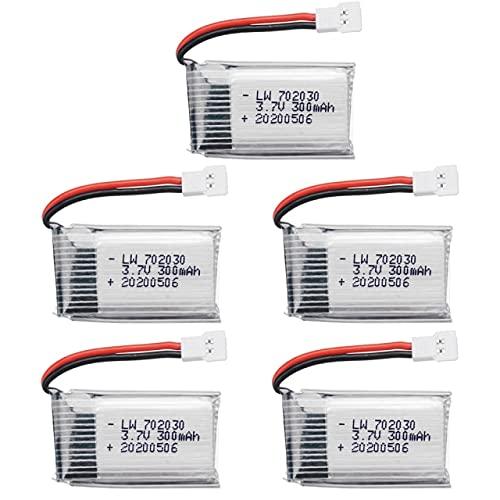 Batería económica de 3,7 V 300 mAh Compatible con Udi U816 U830 F180 E55 FQ777 FQ17W Compatible con Hubsan Compatible con H107 Compatible con Syma X11C FY530 RC Drone Piezas 3,7 V 702030 Batería