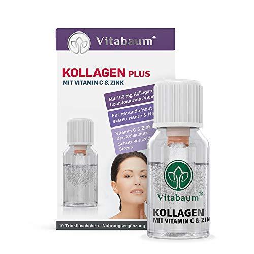 Vitabaum Kollagen PLUS mit 100 mg Kollagen inkl. Vitamin D3, Vitamin C, Mangan und Zink - Für gesunde Haut, starke Haare und Nägel - 10 Fläschchen á 10 ml, Nahrungsergänzung