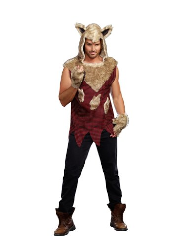 Dreamgirl Men's Big Bad Wolf Costume, Multi-Colored, Large