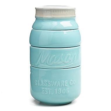 Blue Ceramic Mason Jar Measuring Cups