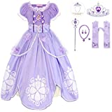 HenzWorld Little Girls Dresses Princess Costume Dress Up Birthday Cosplay Party Long Outfits with Crown Wand Gloves Jewelry Accessories Kids Age 7-8 Years Purple