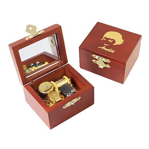 Youtang Amelie - Caja de música de madera tallada con mecanismo dorado para regalo de Navidad, cumpleaños, día de San Valentín