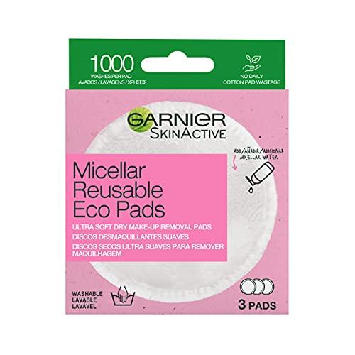 GARNIER Skin Active Discos Desmaquillantes Reutilizables de Microfibra, Lavables Hasta 1000 Usos, Eliminan Impurezas y Hasta El 100% del Maquillaje, 3 Pads