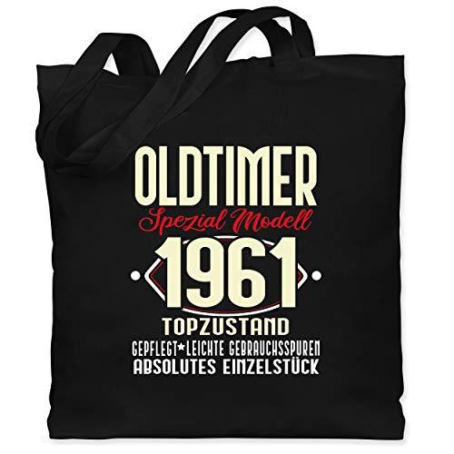 Shirtracer Geburtstag - Oldtimer Spezial Modell 1961-60. Geburtstag - Unisize - Schwarz - stoffbeutel geburtstag 60 oldtimer - WM101 - Stoffbeutel aus Baumwolle Jutebeutel lange Henkel