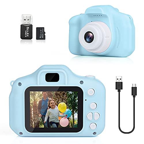 DreamHigh Digitalkamera Kinder für 3-10 Jahre, Spielzeug Kamera mit 2 Zoll HD-Bildschirm 1080P 32 GB TF-Karte, Geschenk für Mädchen und Jungen, USB Wiederaufladbare (Blau)