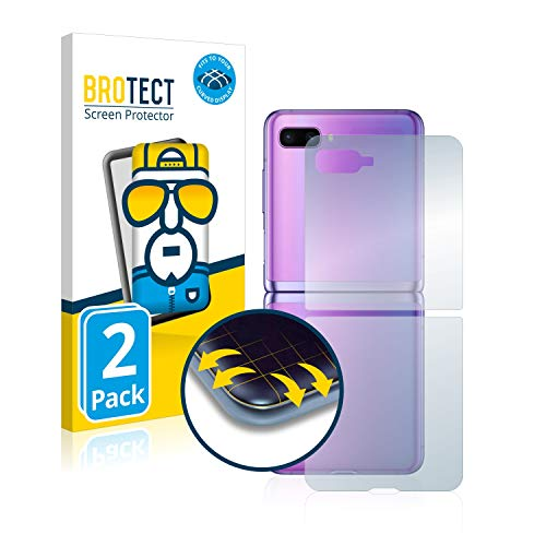 BROTECT Full-Cover Schutzfolie kompatibel mit Samsung Galaxy Z Flip (Rückseite) (2 Stück) - Full-Screen Bildschirmschutz-Folie, 3D, Kristall-Klar
