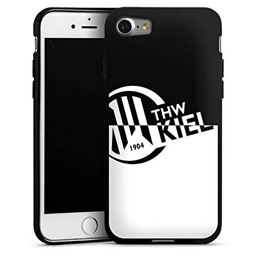 DeinDesign Silikon Hülle kompatibel mit Apple iPhone 7 Case Schutzhülle THW Kiel Handball Schwarz Weiss