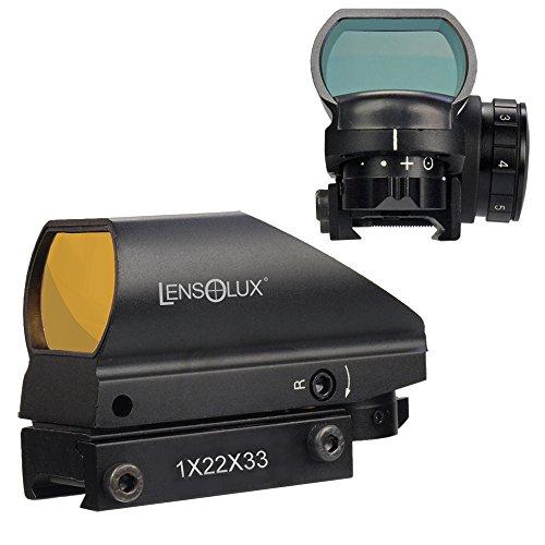 LENSOLUX Red Dot 1 x 22 x 33 mit Wechselabsehen (halb-offene Ausführung), perfekt für die Bewegungsjagd oder Action-Shooting