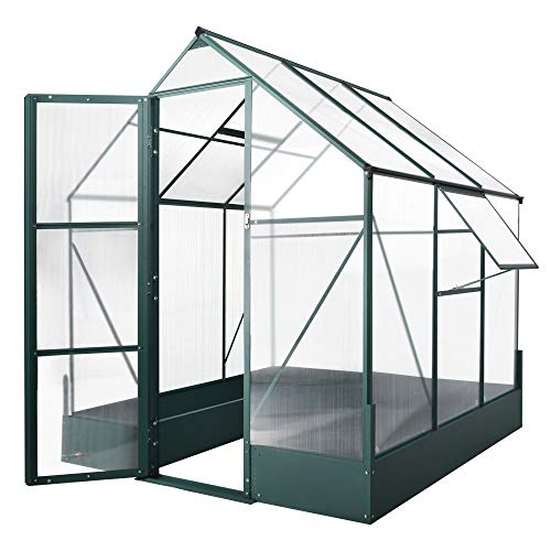 Outsunny Walk-in Greenhouse Outdoor Plant Garden, Aluminium Frame, Polycarbonate, Temperature Controlled Window, with Foundation, 6 x 6ft