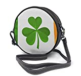 BAODANLA Bolso redondo mujer Round Crossbody Bag Irish Flag with Shamrock Clover Double Sided Polyester Handbag Purse Single Shoulder Bag Sling Bag