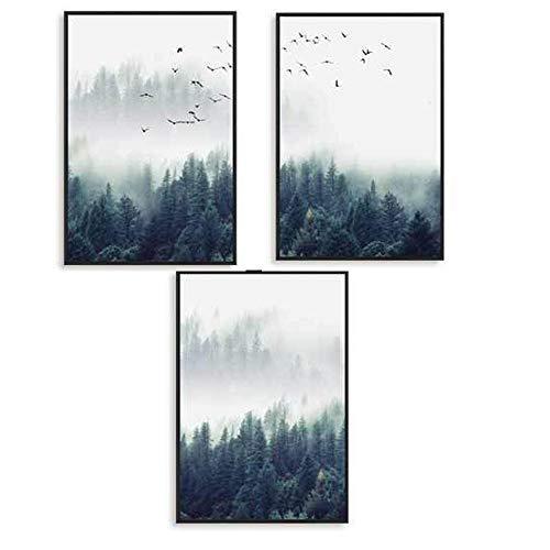 EXQULEG 3er Set Design-Poster Wandbilder-Wald und Vögel im Nebel-Ohne Rahmen- Deko für Wohnzimmer, Sofa, Veranda, Gang (50x70cm)