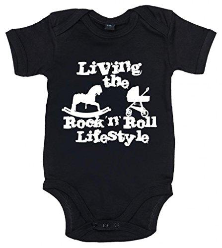 Image Vêtements bébé, Living The Rock 'n Roll Lifestyle, Body Bébé, 3-6m, Noir