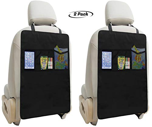 Lebogner Kick Mat Auto Seat Back Protectors + 3 Organizer Pockets, 2 Pack Waterproof Fabric Seat Cover For The Back Of Your Seat, X-Large Car Back Seat Protectors, Backseat Child Kick Guard Seat Saver