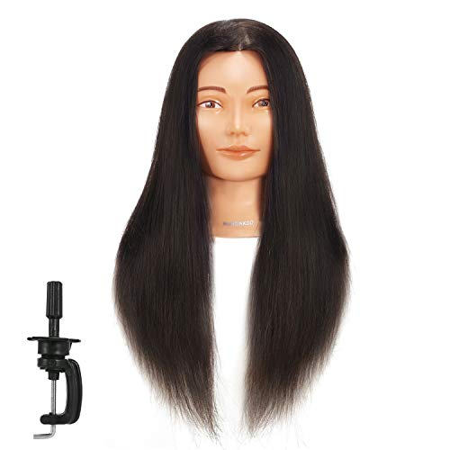 Hairginkgo Mannequin Head 24-26  Human Hair Manikin Head Hairdresser Training Head Cosmetology Doll Head for Styling Dye Cutting Braiding Practice with Clamp Stand (92019D0218)