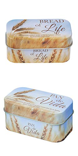 Christian Art Gifts Bible Verse Cards, Set of 2 Bread of Life Promise Boxes, 1 English, 1 Spanish