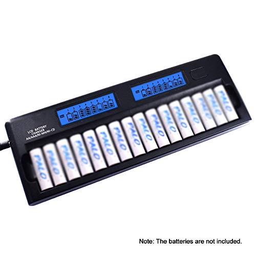 QWERTOUY Cargador de baterías Dos Cargador Inteligente Speedy w / 16 Ranuras para la batería de 1.2V Ni-MH AAA Ni-CD Pilas AA