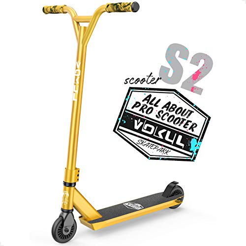 """VOKUL Gold Pro Stunt Scooter - Entry Level Tricks Freestyle Pro Scooter for Age 6 Up Kids,Boys,Girls - Reinforced 20"""" L4.1 W Deck(Gold)"""