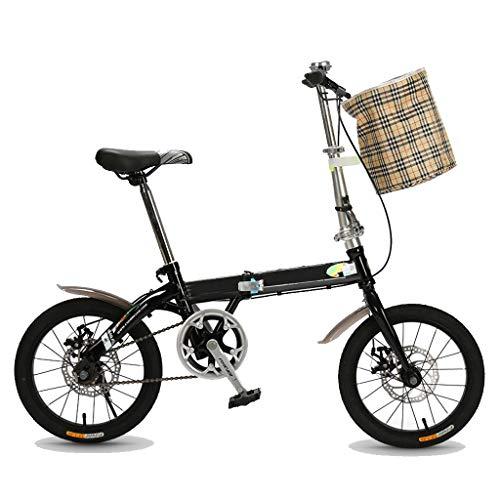 Bici Pieghevole, Bicicletta Pieghevole Adulto Leggera, Bicicletta Uomo, Bici Pieghevole Adulto, Leggero Single Speed Biciclette, Biciclette for Adulti Teens Cruiser - Acciaio al Carbonio Telaio