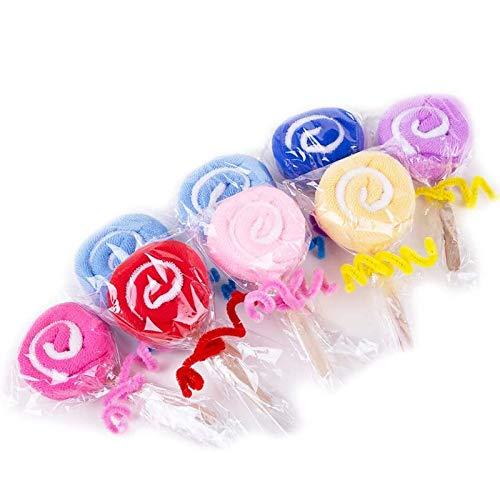Amycute 12 pcs juguete de Toalla en forma de Piruleta regalos Originales Mini Toalla de Microfibra Toallas para niños party recuerdos de boda (Color al azar)