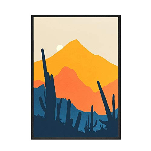 Póster de pared con imagen de paisaje de montaña abstracta nórdica, decoración nórdica para el hogar, pintura decorativa sin marco, A 70x100cm