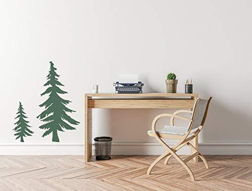 Adhesivo decorativo de pared de vinilo para árbol de abeto, para oficina, casa, adhesivo decorativo extraíble, árbol de bosques para decoración de sala de estar