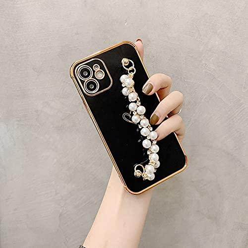 Funda de teléfono Suave electrochapada para iPhone 11 12 Pro MAX XS X XR 7 8 Plus Mini SE 2020 Funda de Fundas a Prueba de Golpes con Pulsera de Perlas, Negro, para iPhone 12