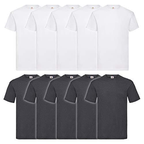 Fruit of the Loom 10 T Shirts Valueweight T Rundhals S M L XL XXL 3XL 4XL 5XL Übergröße Diverse Farbsets auswählbar (XL, 5 Weiß/5 Dark H. Grey)