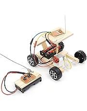 VGBEY Coche Modelo de DIY, Juego Educativo Hecho En Casa del Juguete del Vehículo Modelo Casero Hecho En Casa de Control Remoto de Madera Inalámbrico