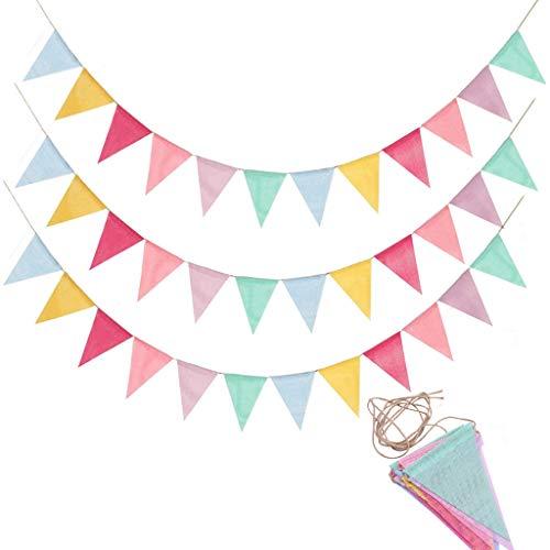 Lot de 3 guirlandes de fanions - Guirlande de fanions - Pour l'extérieur - Décoration pour mariage, fête, Noël, anniversaire, fête de naissance, Noël