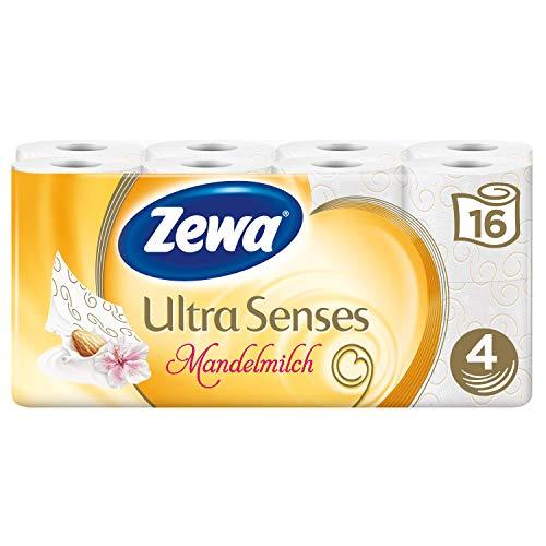 Zewa Ultra Sense Mandelmilch Toilettenpapier, verwöhnendes WC-Papier 4-lagig mit mildem Mandelduft, 1 x Vorratspack mit 16 Rollen