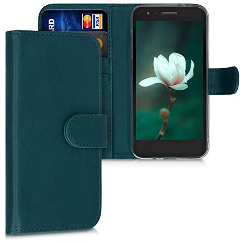 kwmobile Wallet Case Compatible with LG K8 (2018) / K9 - PU Leather Flip Cover with Magnetic Closure, Card Slots and Kickstand - Petrol
