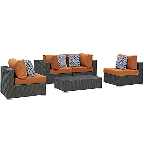 Modway EEI-2378-CHC-TUS-SET 5 Piece Sojourn Outdoor Patio Sunbrella Sectional Set, Canvas Tuscan
