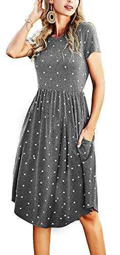 Simier Fariry Women Short Sleeve Pockets Loose Swing Casual Casual Dress Gray M
