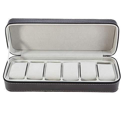 ZhenHe Aufbewahrungsbox, staubdicht, 6 Standbooth, Leder, für Armbanduhren, mit Reißverschluss, tragbare...