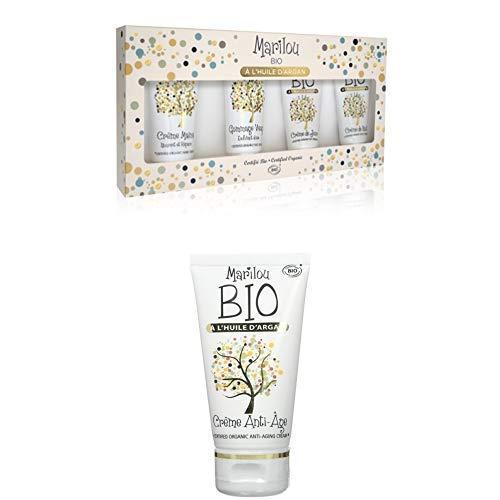 Duo Produit de beauté MARILOU BIO - Gamme Argan - Coffret Soin visage à l'huile d'Argan - Crème anti age