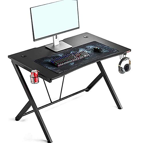 Gaming Desk, Modern Ergonomic R‑Shape Frame Stable Gaming Table Computer Desk for Home Office Working Use
