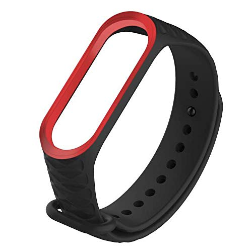 Xiaomi Strap Mi Band 3 and Band 4 Compatible Silicone Wrist Band Dust and Water Resistant Skin Friendly Soft Silicone Banded Strap with Anti Lost Ring (Navy Blue)