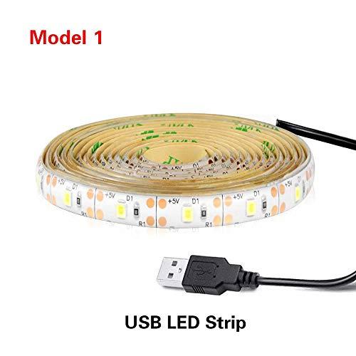Pir Wireless Motion Sensor nachtlampje waterdicht bed kast traplicht USB LED striplamp 5V voor Tv backlights USB-aansluiting geen sensor 3M wit 1M wit