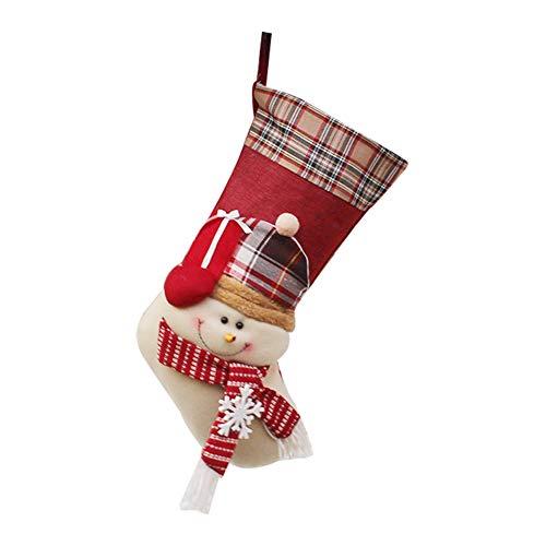 Demarkt–Papá Noel Botas con Cabeza de Papá Noel 46cm de Peluche para Colgar UC-Express–Bolsas para Regalos Navidad decoración Botas, Fibra de poliéster, Muñeco de Nieve, 27 * 46CM