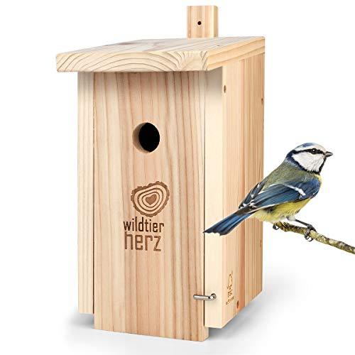 wildtier herz | Nistkasten Natur für Blaumeisen & kleine Meisenarten aus Massiv-Holz - verschraubt, unbehandelt, wetterfest, Vogelhaus für Meisen, Nisthilfe mit 28 mm Einflugloch