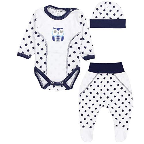 TupTam Baby Kleidung Set Body Strampelhose Mütze Bekleidungsset Jungen Mädchen, Farbe: Eule Sterne Dunkelblau/Weiß, Größe: 56