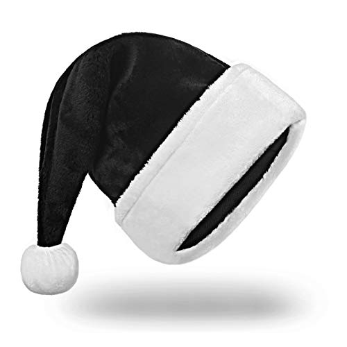 MAZORT Black Santa Hat, Xmas Hat for Adults, Deluxe Velvet Christmas Hat with Plush for Black Christmas Theme, New Year Festival, Holiday Party