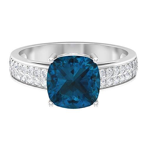 Anillo de compromiso de 3 ct con forma de cojín de topacio azul Londres con piedras laterales de moissanita (calidad AAA), 14K Oro blanco, Size:EU 52