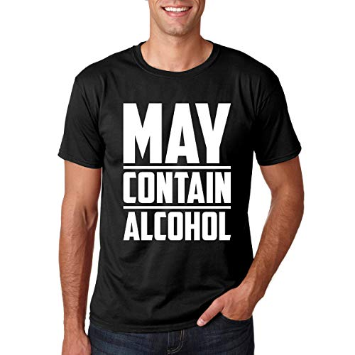 CBTwear May Contain Alcohol - Funny College Drinking Tee - Men's T-Shirt (Black, XX-Large)