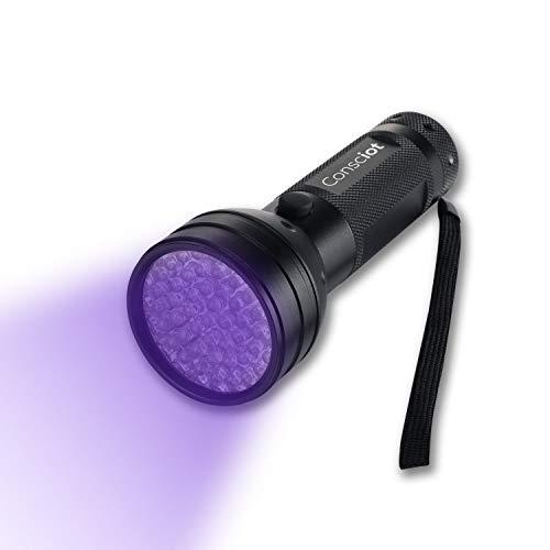 Consciot 51 LED UV Flashlight Black Light 395nm Ultra Violet Blacklight Torch Light Pet Urine Detector for Dry Dog Urine, Pet Stains, Bed Bug, Compact Ultraviolet Flashlight for Scorpion Hunting